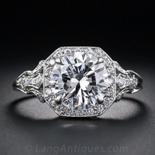 2.17 Carat D Colorless Diamond Edwardian Style Engagement Ring - GIA D/VS2