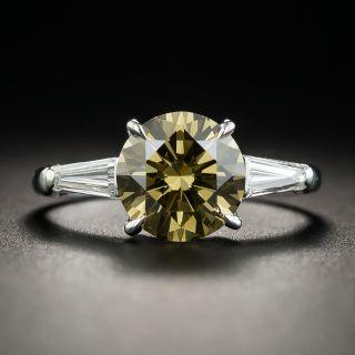 2.18 Carat Natural Fancy Dark Brown-Greenish Yellow Diamond (GIA) Platinum Diamond Ring - 1