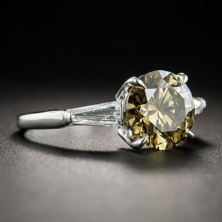 2.18 Carat Natural Fancy Dark Brown-Greenish Yellow Diamond (GIA) Platinum Diamond Ring