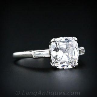 2.20 Carat Antique Cushion Diamond Ring