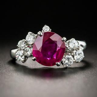 2.21 Carat Burma Ruby and Diamond Platinum Ring - GIA - 1