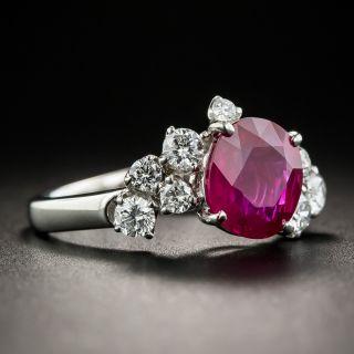 2.21 Carat Burma Ruby and Diamond Platinum Ring - GIA