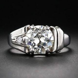 2.25 Carat Retro Diamond and Palladium Ring - 1