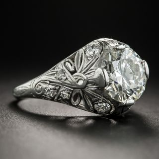 2.25 Carat Vintage Diamond Platinum Engagement Ring - GIA M VS2