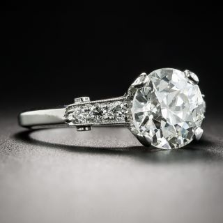 2.27 Carat Diamond Vintage Platinum Engagement Ring - GIA K VS2