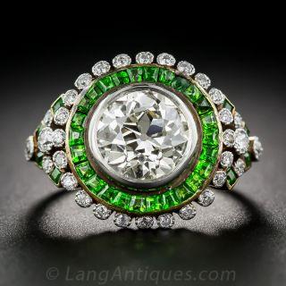 2.33 Carat European-Cut Diamond Ring with Demantoid Garnets