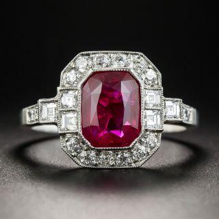 2.34 Carat No-Heat Burma Emerald-Cut Ruby and Diamond Ring - 1