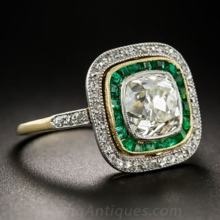 2.35 Carat Antique Cushion Cut Diamond and Emerald Ring by Black Starr & Frost