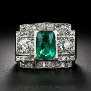 2.38 Carat Emerald and Diamond Art Deco Ring - 2