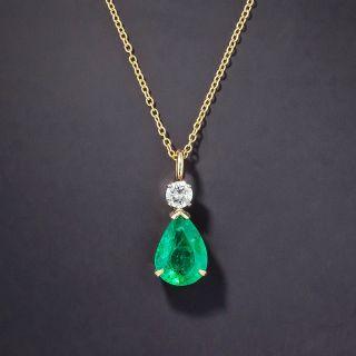 2.40 Carat Pear-Shaped Emerald and Diamond Pendant - 2