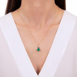 2.40 Carat Pear-Shaped Emerald and Diamond Pendant