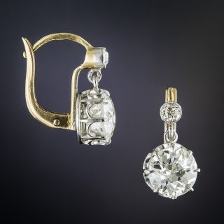 2.40 Carats Vintage Diamond Drop Earrings