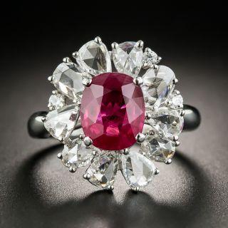 2.41 Carat Burma Ruby  Rose-Cut Diamond Platinum Halo Ring - GIA - 3