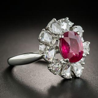 2.41 Carat Burma Ruby  Rose-Cut Diamond Platinum Halo Ring - GIA