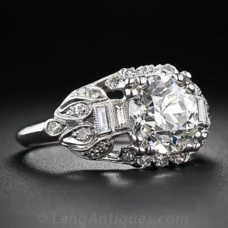 2.42 Carat Platinum and Diamond Engagement Art Deco Ring