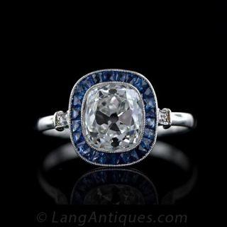 2.45 Carat Art Deco Antique Cushion Cut Diamond Ring