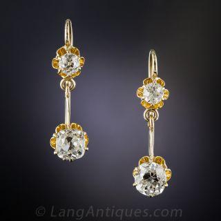 2.48 Carat Vintage Diamond Drop Earrings - GIA I-VS1 & J-VVS2 - 1