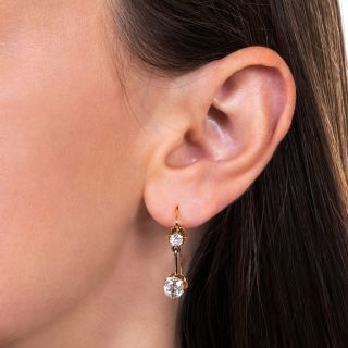 2.48 Carat Vintage Diamond Drop Earrings - GIA I-VS1 & J-VVS2