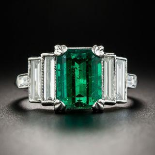 2.49 Carat Emerald Platinum Diamond Ring - 1