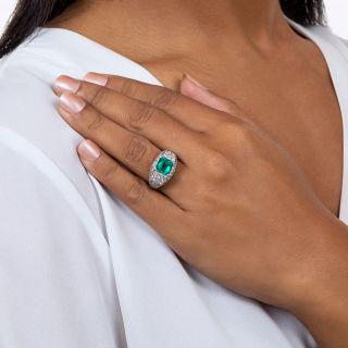 2.50 Carat Emerald and Pave' Diamond Ring in Platinum