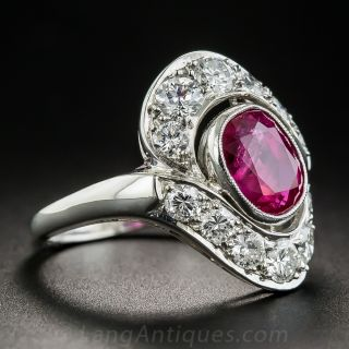 2.50 Carat Natural No-Heat Burma Ruby Diamond Platinum Vintage Ring