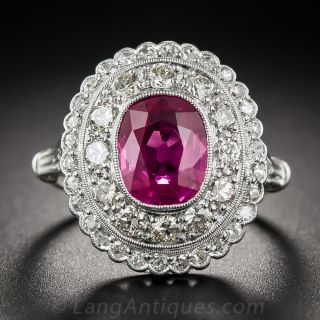 2.50 Carat Natural Pink Sapphire and Diamond Ring