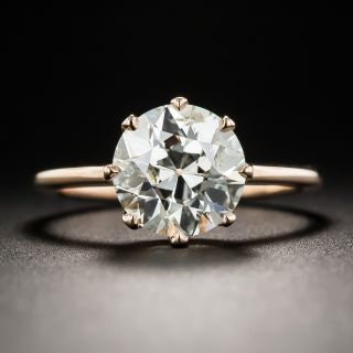 2.55 Carat European-Cut Diamond 18K Rose Gold Solitaire Ring