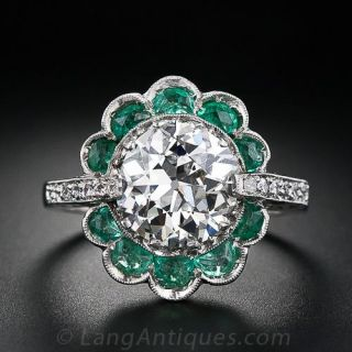 2.56 Carat Vintage  Diamond Ring with Emeralds