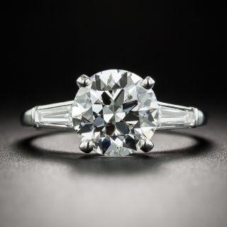 2.58 Carat Diamond Platinum Vintage Engagement Ring  - GIA H VS1 - 1