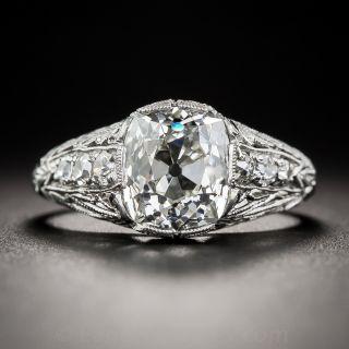 2.69 Carat Antique Cushion Diamond Art Deco Ring - GIA I/SI1