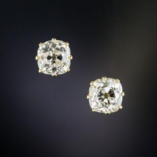 2.74 Carat Antique Cushion-Cut Diamond Stud Earrings  - 1