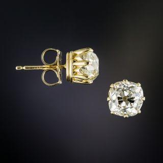 2.74 Carat Antique Cushion-Cut Diamond Stud Earrings