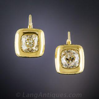2.75 Carat Antique Cushion-Cut Diamond Earrings - 1