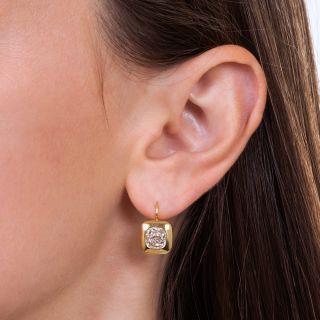 2.75 Carat Antique Cushion-Cut Diamond Earrings