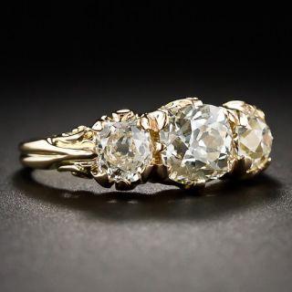 2.78 Carat Victorian-Style Three-Stone Diamond Ring