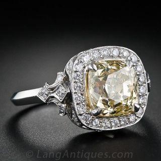2.80 Carat Fancy Yellow Cushion Diamond Ring