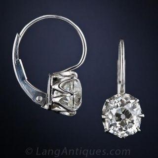 2.85 ctw Old Mine Cut Cushion Diamond Earrings