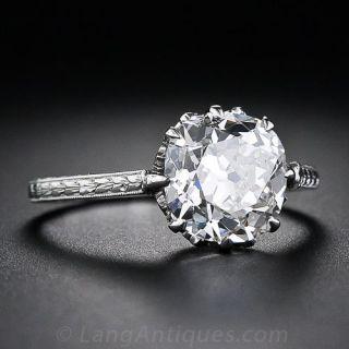 2.90 Carat Antique Cushion-Cut Diamond Engagement Ring