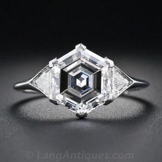 2.91 Carat Hexagon Diamond Platinum Engagement Ring