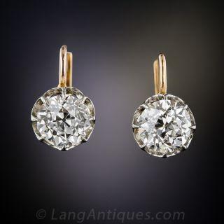 2.96 Carat Antique Diamond Earrings