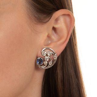 Vintage Diamond and Sapphire Swirl Clip Earrings