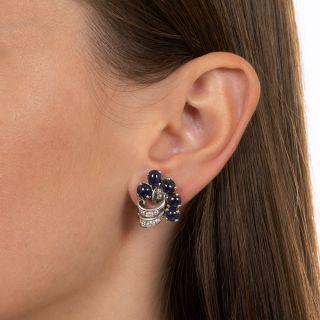 Vintage Cabochon Sapphire Platinum Diamond Clip Earrings