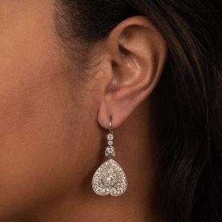 Vintage Style Platinum Diamond Dangle Earrings