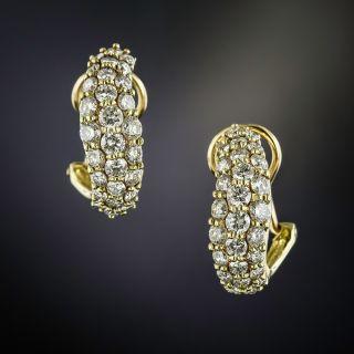 Curved Diamond Half Hoop Earrings - 0