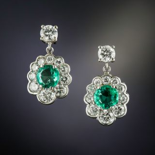 Emerald and Diamond Cluster Drop Earrings - 1