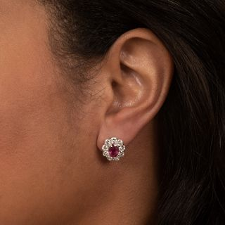 Estate No-Heat 2.13 Carat Total Weight Ruby and Diamond Halo Earrings