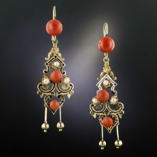 Victorian Enameled Coral and Pearl Drop Earrings - 1