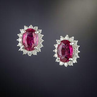 Estate Tourmaline And Diamond Halo Earrings - 0