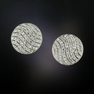 Edwardian Diamond Circle Stud Earrings - 1