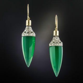 Art Deco Green Chalcedony and Diamond Drop Earrings - 1